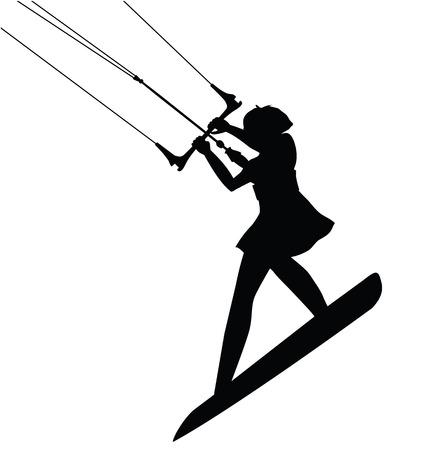 Kitesurfing Sport female silhouette in action isolated. Vector design. Illustration