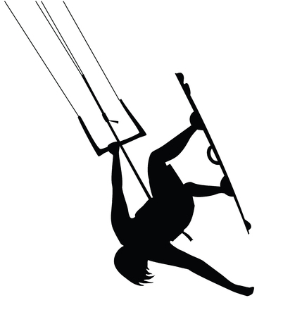 Kitesurfer guy doing stunt, jumping cutout silhouette. Ilustrace