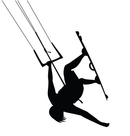 Kitesurfer guy doing stunt, jumping cutout silhouette. Illustration