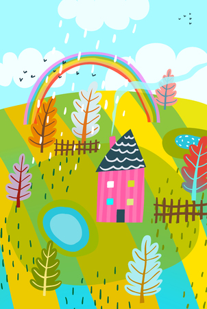 Country field and house rainbow card design. Ilustrace