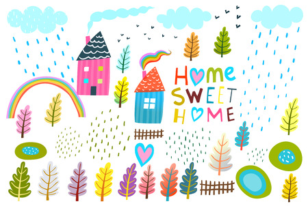 Set of landscape kids design simple elements isolated. Ilustrace