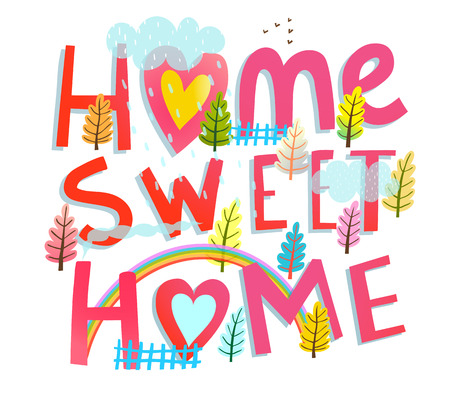 Hand drawn sign home sweet home cartoon design. Ilustrace