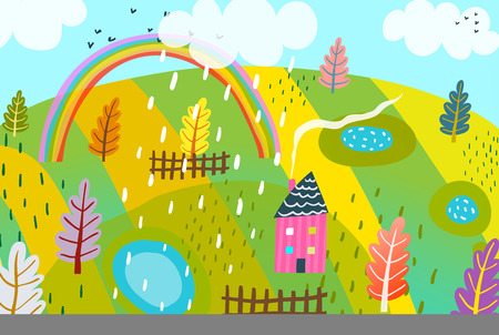 Countryside summer landscape hand drawn kids cartoon.