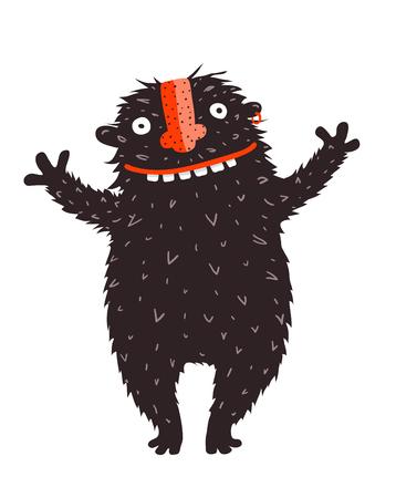 Diseño de dibujos animados de gráficos vectoriales de monstruos extravagantes. Ilustración de vector