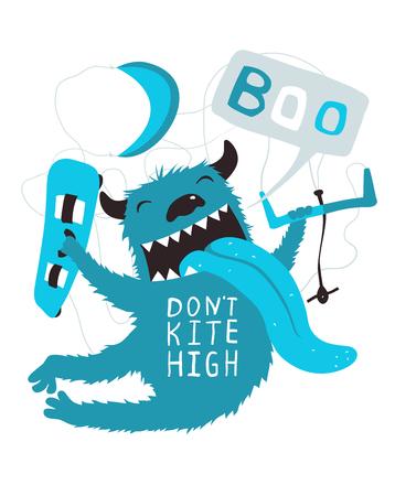 Do not kite high, monster cartoon lettering design. Illustration