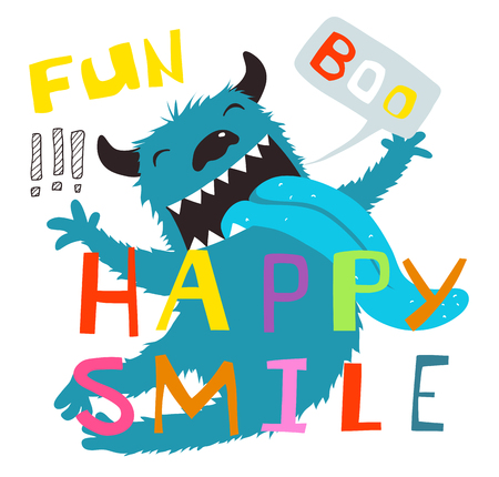Fun boo and happy smile lettering, character cartoon design.