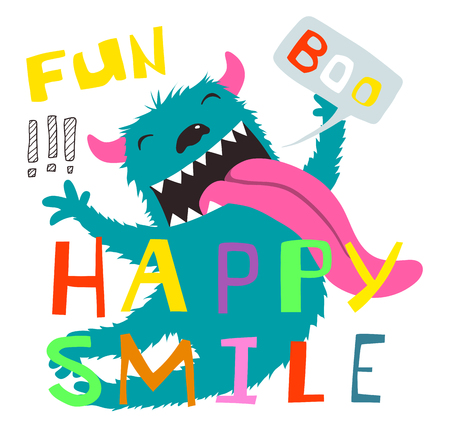 Colorful cartoon with monster happy smile and boo lettering.