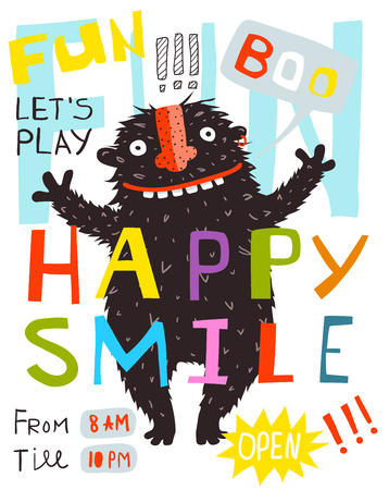 Monster Fun Happy Smile Lettering Poster Design. Funny kids design with black greeting monster. Фото со стока - 122689094