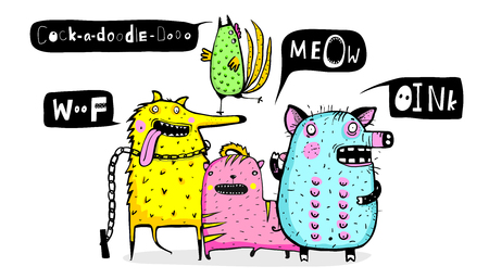Funny animals dog, pig, rooster and cat talking sounds. Ilustrace