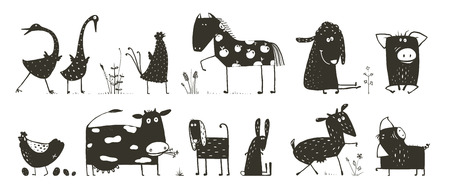 Funny house animals cartoon black and white.