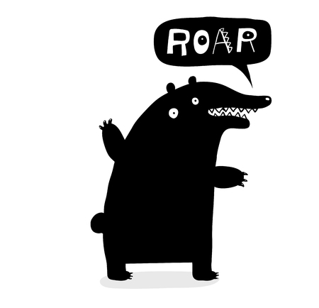 Hand drawn bear saying Roar speech bubble.