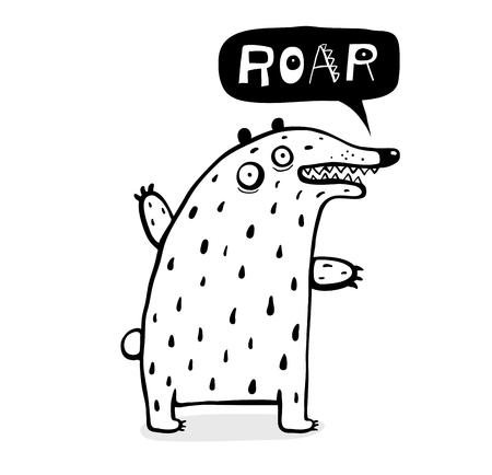Kids cartoon wild animal talking Roar monochrome. Ilustrace