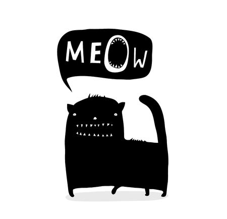 Cat speech bubble with quirky animal design.