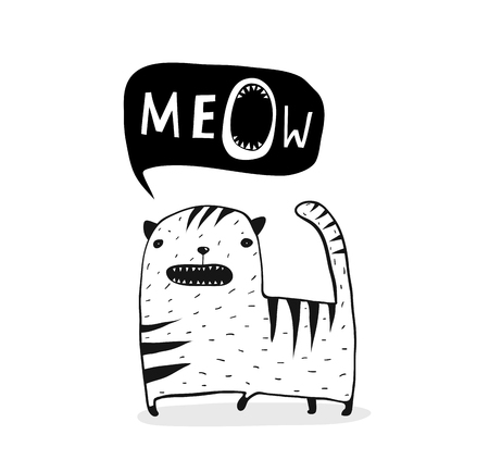 Cute funny cat cartoon talking speech bubble meow.