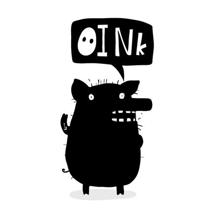 Piggy funny talking cartoon inky tattoo style.
