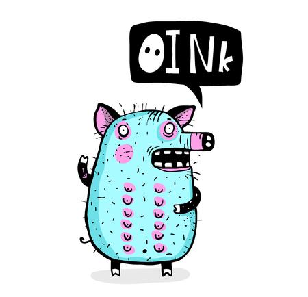 Kids Pig animal cartoon design outline hand drawn talking. Illustration