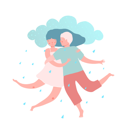 Happy couple in love tender hearts shower rain and cloud pillow. Ilustrace