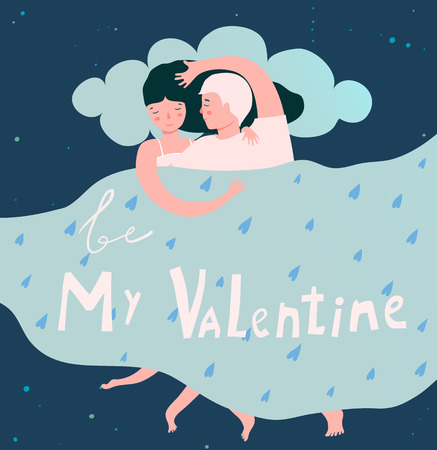 Be my Valentine greeting card with lovers couple in bed.