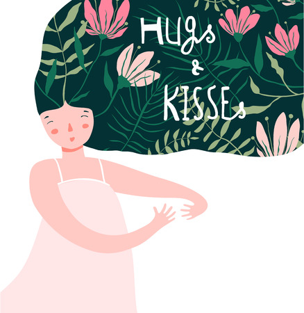Dreamy Woman embracing hugging giving love design. Ilustrace
