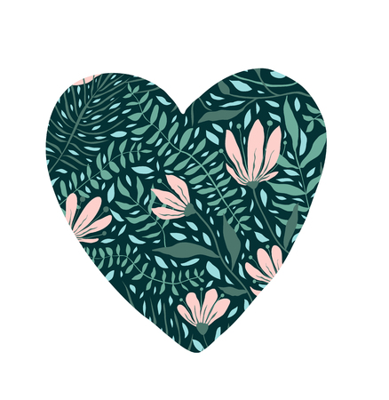 Heart design with blooming flowers heart shape. Иллюстрация