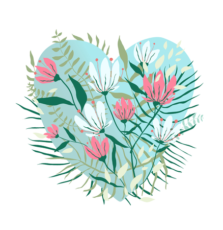 Greeting Card design in heart shape with blooming flowers.