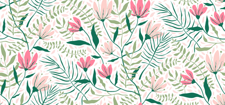Blooming garden tropic floral pattern design for textile.