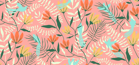 Blooming design for textile or wallpaper with birds.
