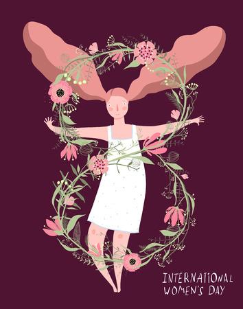 Frauenurlaub 8. März Design mit Mädchen und Nummer.