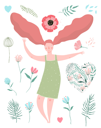 Beautiful woman with red hair and flowers isolated collection. Ilustrace