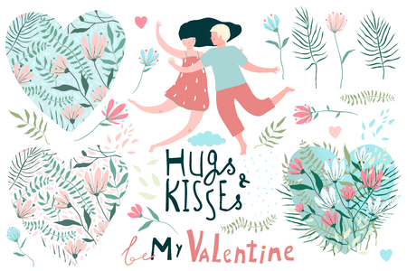 Big clip art set for Valetines Day, flowers man and woman in love. Ilustrace