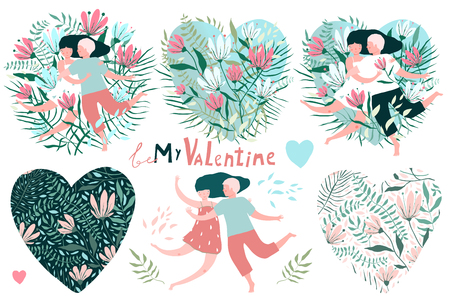 Big clip art vintage flowers and couples set for Valetines Day. 向量圖像