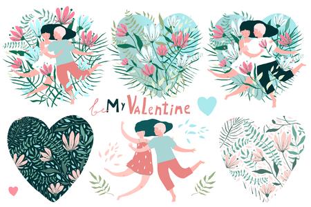 Grandi fiori vintage e coppie di clip art impostati per il giorno di San Valentino.
