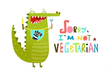Cartoon croco with for and knife dining. Vector cartoon.