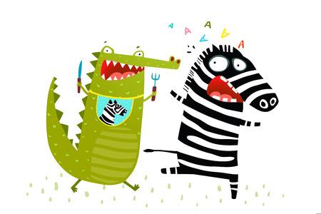 Hungry Alligator quiere comerse a Zebra huyendo. Vector de dibujos animados divertidos.