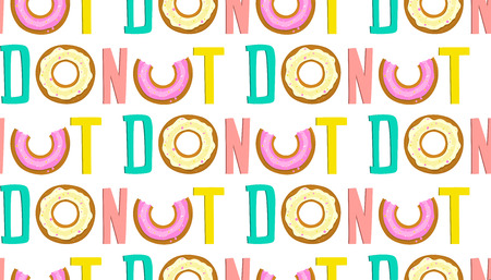 Repetitive word donut seamless background hand drawn lettering.