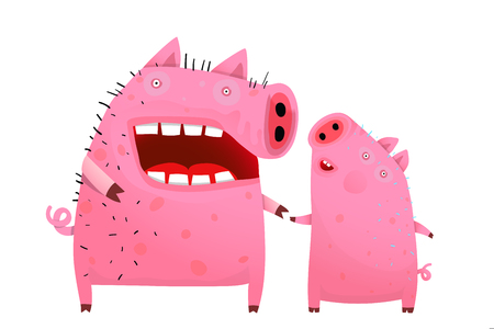 Funny cartoon pig and piglet holding hands talking. Ilustrace