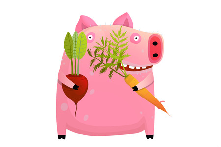 Vegetables dieting big pig healthy happy smiling with teeth.