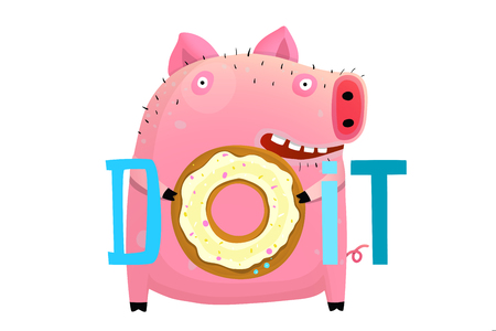 Funny pig with donut saying doit, cartoon lettering design.