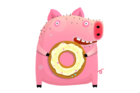 Funny animal pig holding donut happy smiling. Ilustrace