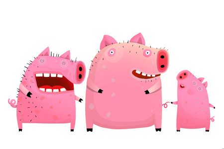 Funny cartoon pigs and piglet friends or family.