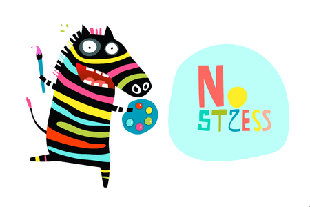 Funny stress relief cartoon with happy zebra. Illustration