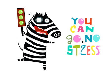 You can go says happy zebra holding green light.