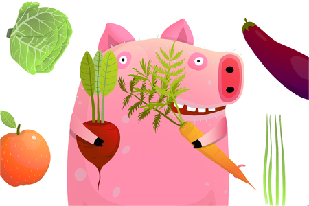 Happy piglet with beetroot carrot apple and cabbage. Ilustrace