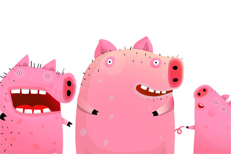 Amusing pigs company portrait. Vector fun cartoon.