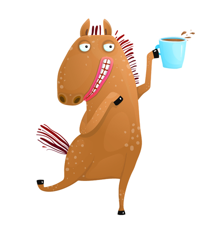 Tea or coffee with funny animal horse character.