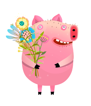 Bunch of flowers holding a cute funny piglet. Vetores