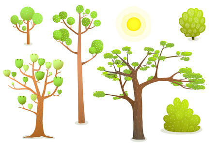 Isolated Cartoon Trees. Cartoon summer trees clip art isolated on white