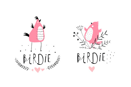 Funny Birds Characters Cute icon Design. Simple fun little birds cartoon hand drawn icon.