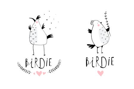 Little Birds Branding icon Design. Minimal illustration hand drawn birdies symbols. Ilustração Vetorial