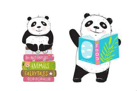 Cartoon bears panda and books, hand drawn illustration. Illustration